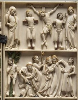 Figure 3. Suicide of Judas and Passion Scenes (detail). Ivory Diptych. French. Fourteenth Century. (Copyright: Trustees of the British Museum)