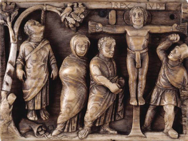 Figure 1. Crucifixion and Suicide of Judas. Ivory Panel. Italian. Circa 420-430. (Copyright: Trustees of the British Museum)