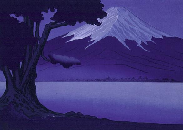Moonlight on Fujiyama Japan
