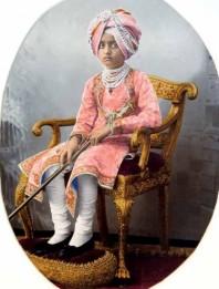 Painted photograph of Maharaja Bhupinder Singh (1891-1938) of Patiala, c.1900