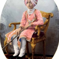 Painted photograph of Maharaja Bhupinder Singh (1891-1938) of Patiala, c.1900
