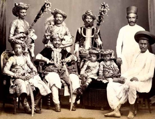 Maharaja Gambhir Singhjee (b. 1862, r.1897-1915) of Rajpipla with family and Court officials, c. 1900