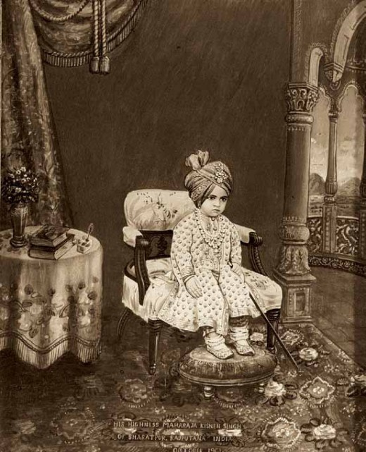 Painted photograph of Maharaja Kishen Singh (b. 1899, r. 1900-1929) of Bharatpur, c. 1900