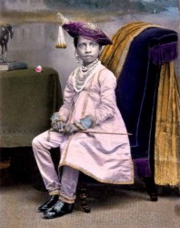 Painted photograph of Maharaja Shivaji Bhonsle (1863-1883) of Kolhapur, c.1870