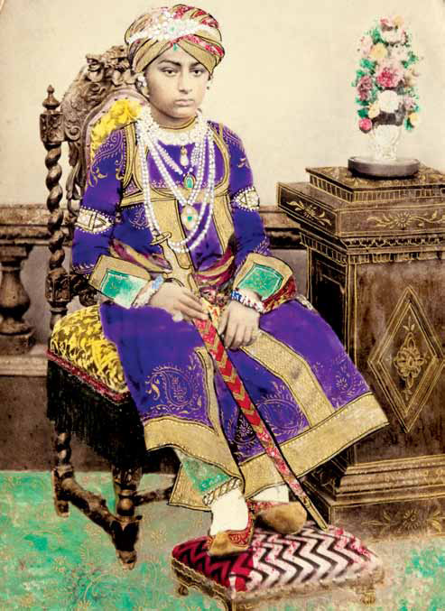 Painted photograph of Maharao Khengarji Pragmalji iii (b. 1866, r. 1876-1942) of Kutch, 1879