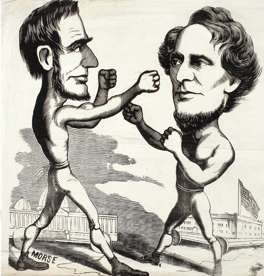 Morse, [Abraham Lincoln boxing with Jefferson Davis], 1861. Woodcut (50.32 x 54.93 cm]