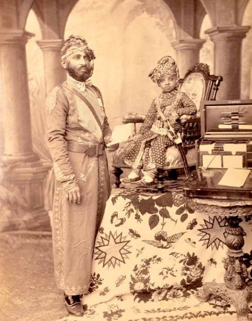 Prince Sardar Singh (1880-1911) of Jodhpur with a Court Official, c. 1885