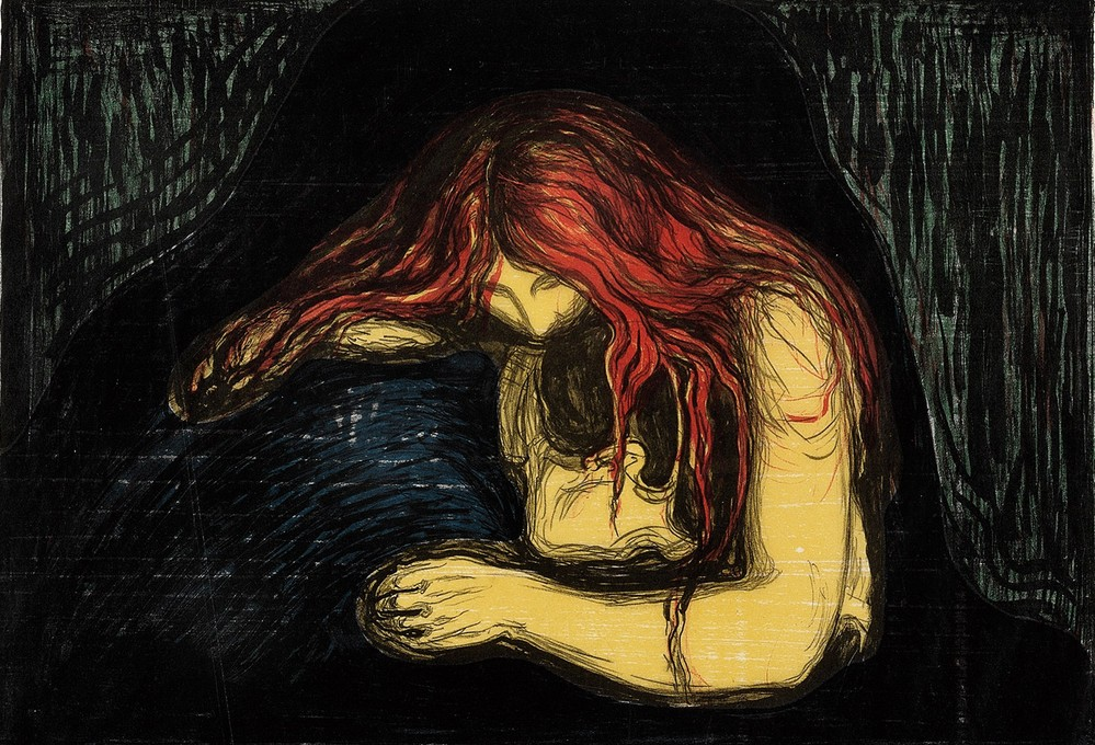an analysis of the works of eduard munch In the painting separation from 1896 we see a young fair-haired woman looking  out to sea while her hair flows out to the man's chest, as if they are still.