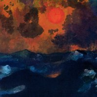 Sea with Red Sun, undated, 18 x 22.8cm, Nolde Stiftung Seebüll