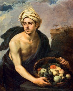 'Summer' as a Young Man Holding a Basket of Fruit and Vegetables