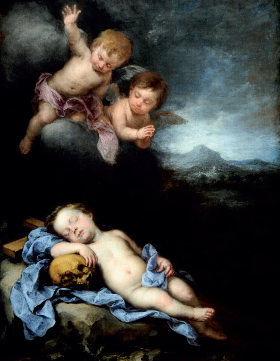 Infant Christ Sleeping on the Cross with Two Putti Above