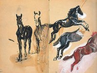 Drei Fohlenstudien, nach rechts springend (Three studies of foals leaping), 1910