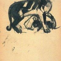 Katze mit Jungen (Cat with kitten), 1912/13