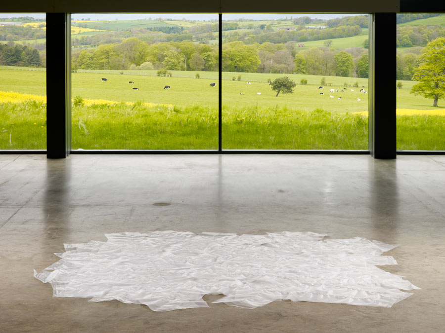 Garth Evans, St Mary's No.1, 1978, welded polythene sheet, 8.5 x 307.3 x 314 cm, Arts Council Collection, installed at Longside gallery, Yorkshire Sculpture Park. Photograph by Anna Arca, courtesy of Arts Council Collection
