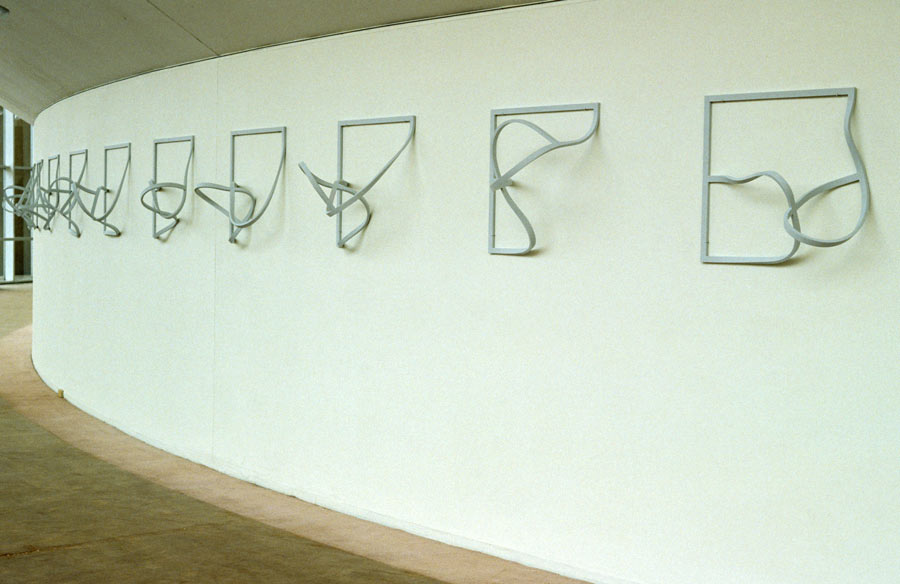 Garth Evans, Frames (Echoes) Nos. 24-21, 1971-74, laminated, painted plywood, dimensions variable, each frame 60.9 x 60.9 cm, installed at Choate Rosemary Hall School in 1993