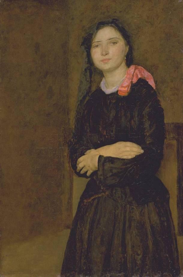 Dorelia in a Black Dress circa 1903-4 by Gwen John 1876-1939