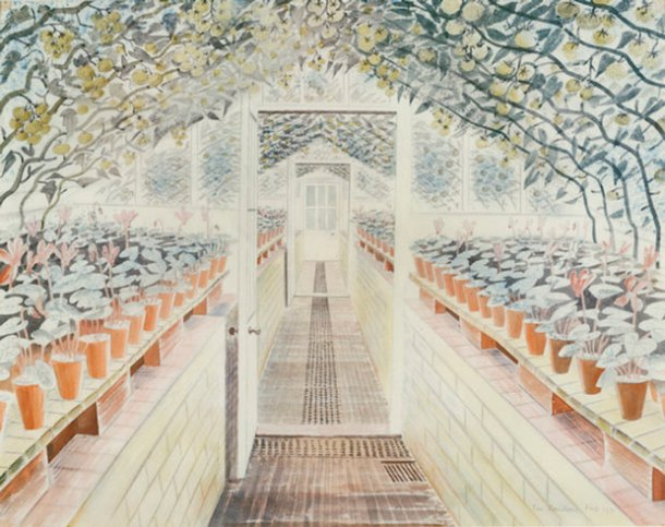 Eric Ravilious, Greenhouse, Cyclamen and Tomatoes