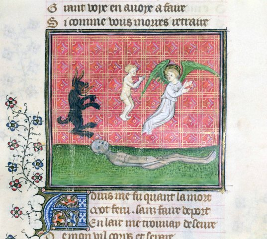 Ms 1130 Soul leaving the body accompanied by an angel, miniature from 'Le Livre des Proprietes des Choses' by Barthelemy l'Anglais (vellum)